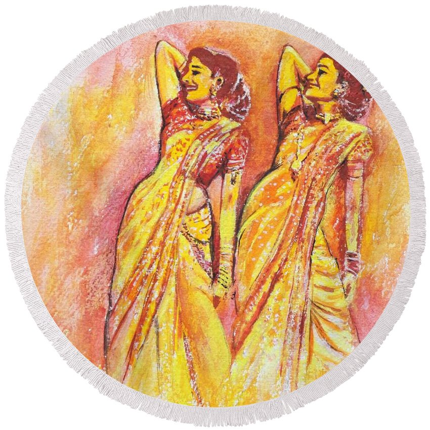 Bollywood Round Beach Towel featuring the painting Devdas Dance by Usha Shantharam