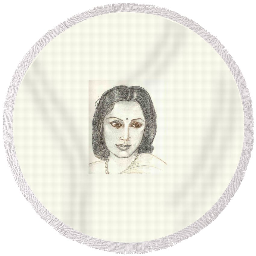 Round Beach Towel featuring the drawing Devika Rani - Svetoslav Roerich by Asha Sudhaker Shenoy