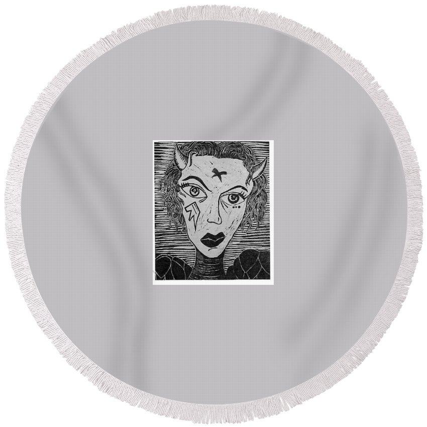 Prints Round Beach Towel featuring the print Devil Print Two Out Of Five by Thomas Valentine