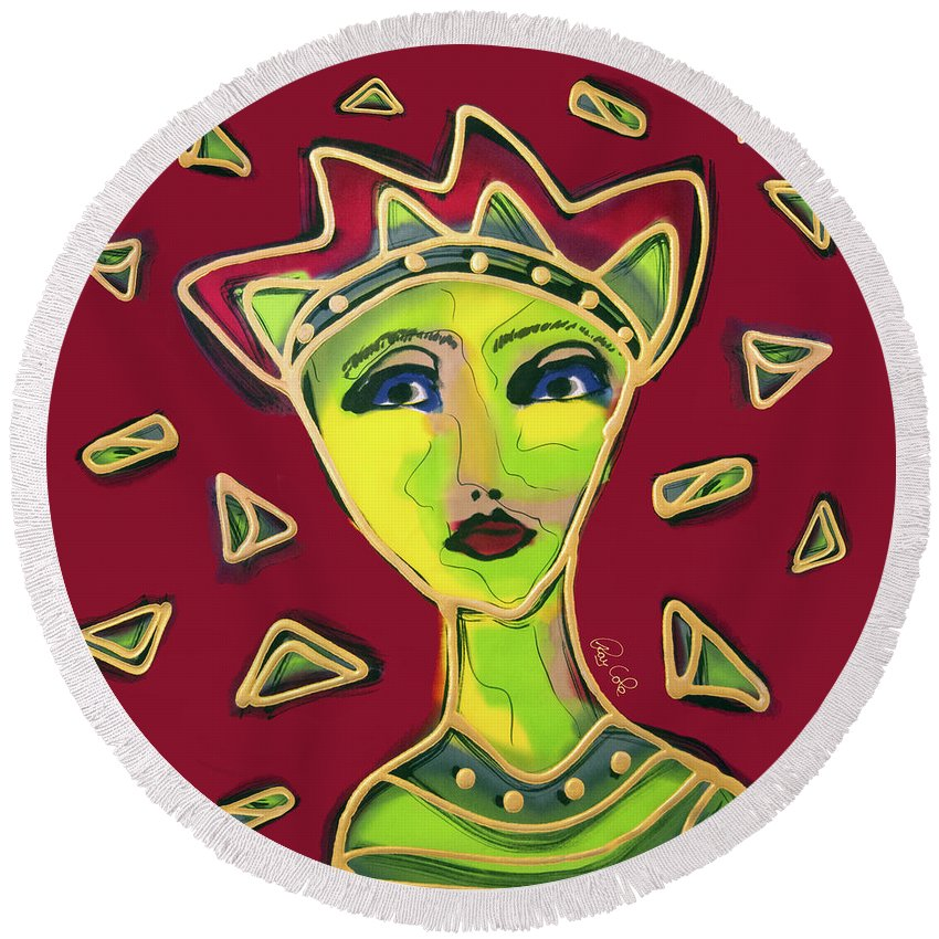 Round Beach Towel featuring the painting Devil Woman by Ray Cole