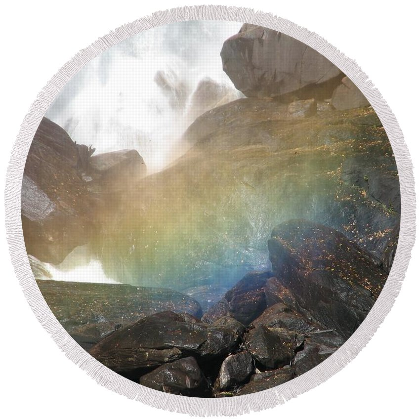 Devil's Fork Round Beach Towel featuring the photograph Devil's Rainbow by Kelly Mezzapelle