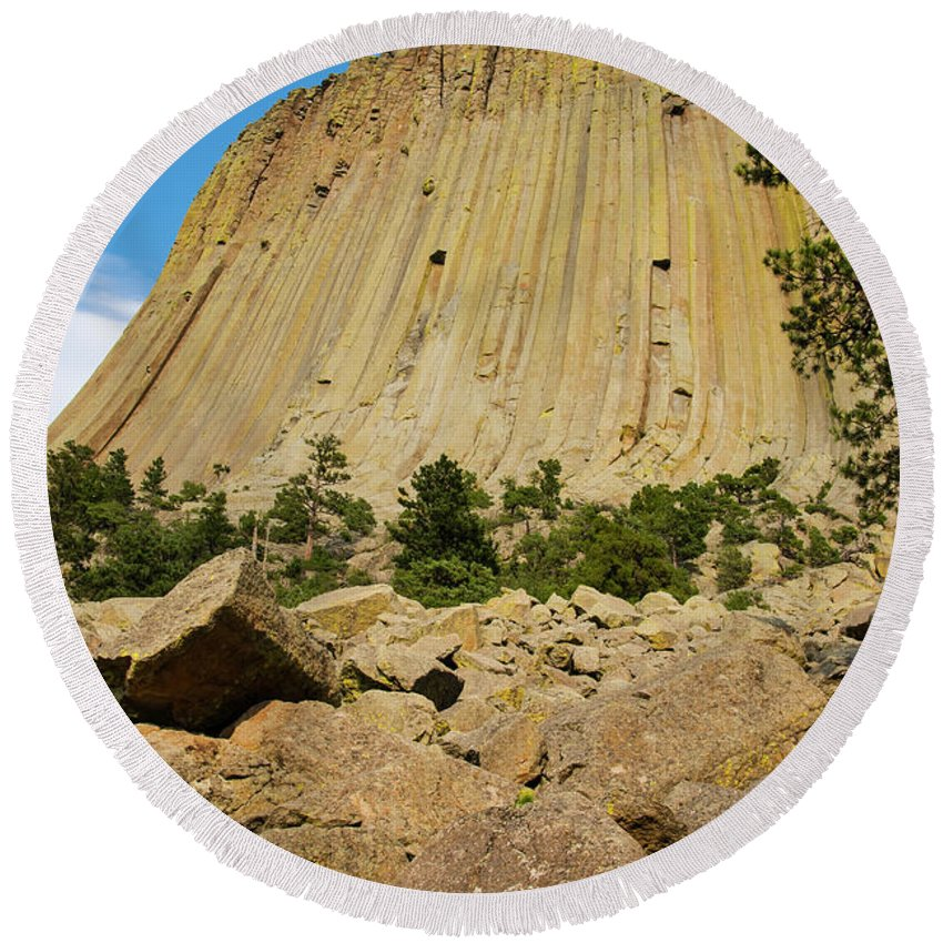 Devils Tower National Monument Round Beach Towel featuring the photograph Devils Tower Four by Bob Phillips