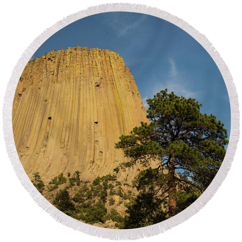 Devils Tower National Monument Round Beach Towel featuring the photograph Devils Tower One by Bob Phillips
