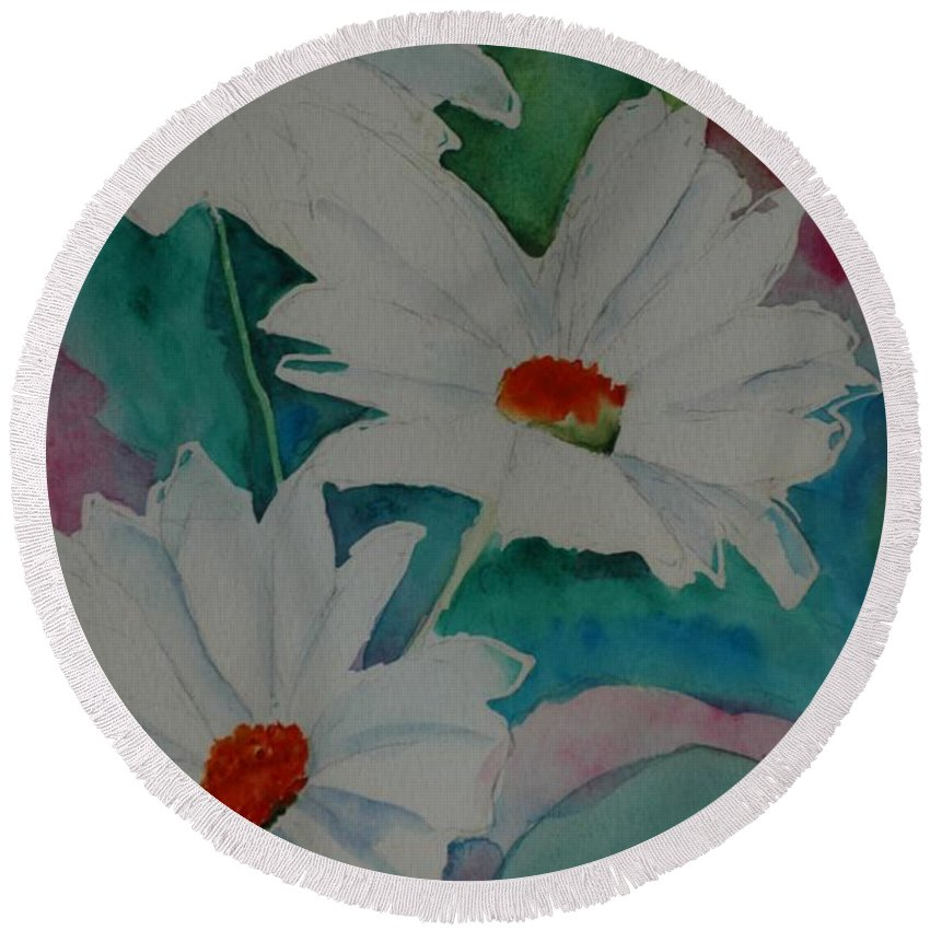 Daisies Round Beach Towel featuring the painting Devin's Dasies by Melinda Etzold