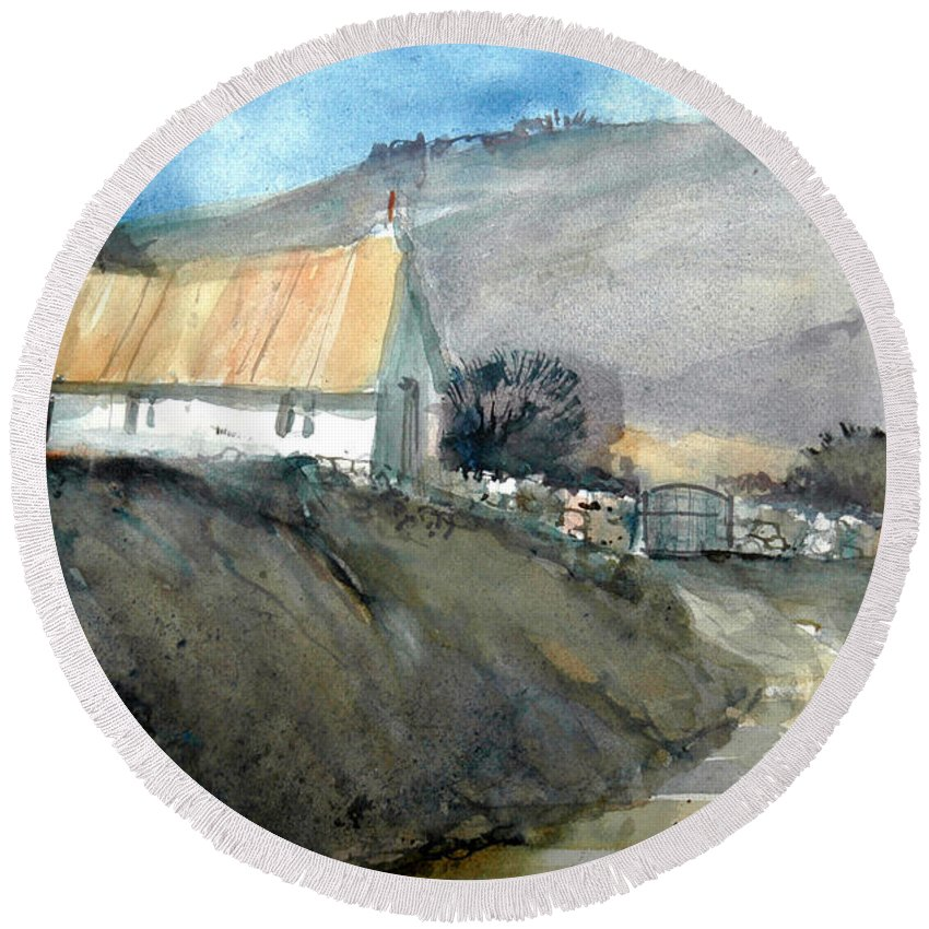 Devon Round Beach Towel featuring the painting Devonshire Farm by Charles Rowland