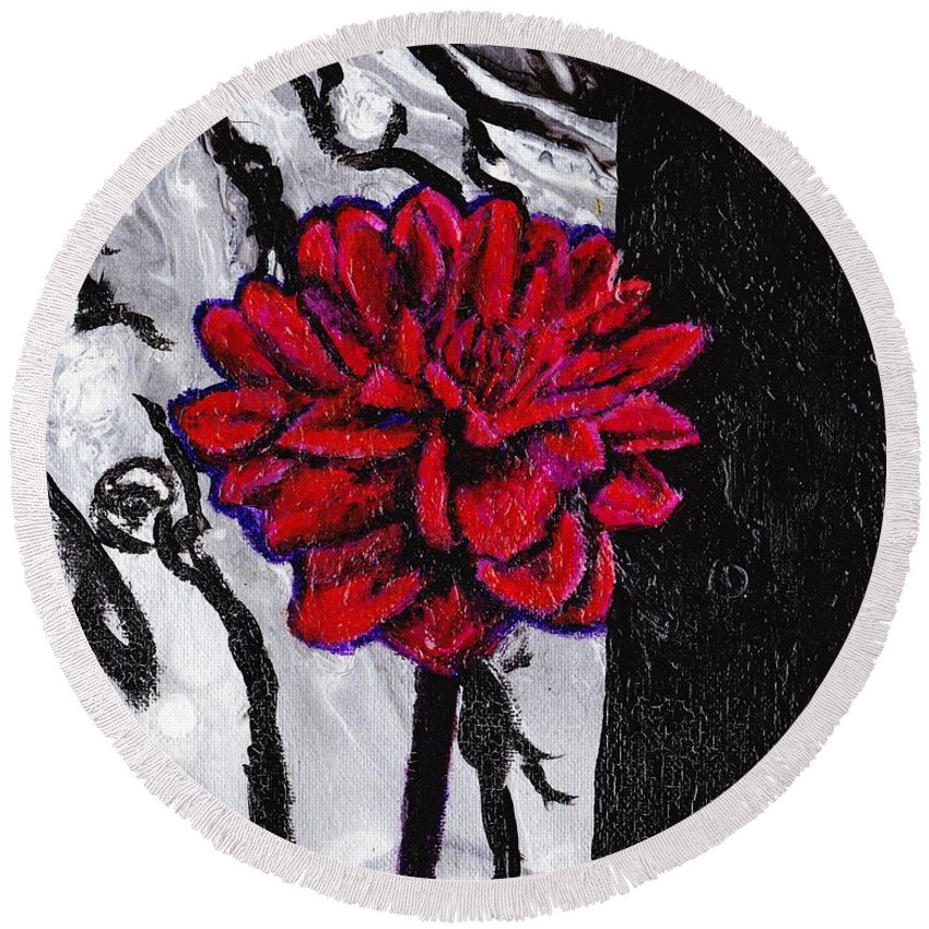 Flower Round Beach Towel featuring the painting Dhalia by Stormy Miller
