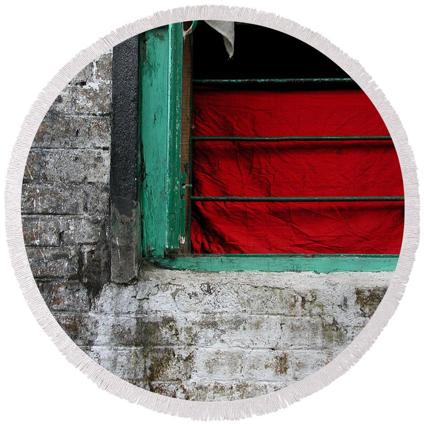 Red Round Beach Towel featuring the photograph Dharamsala Window by Skip Hunt