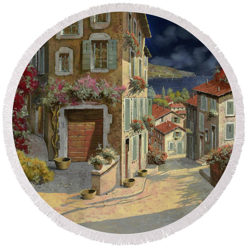 Seascape Round Beach Towel featuring the painting Di Notte Al Mare by Guido Borelli