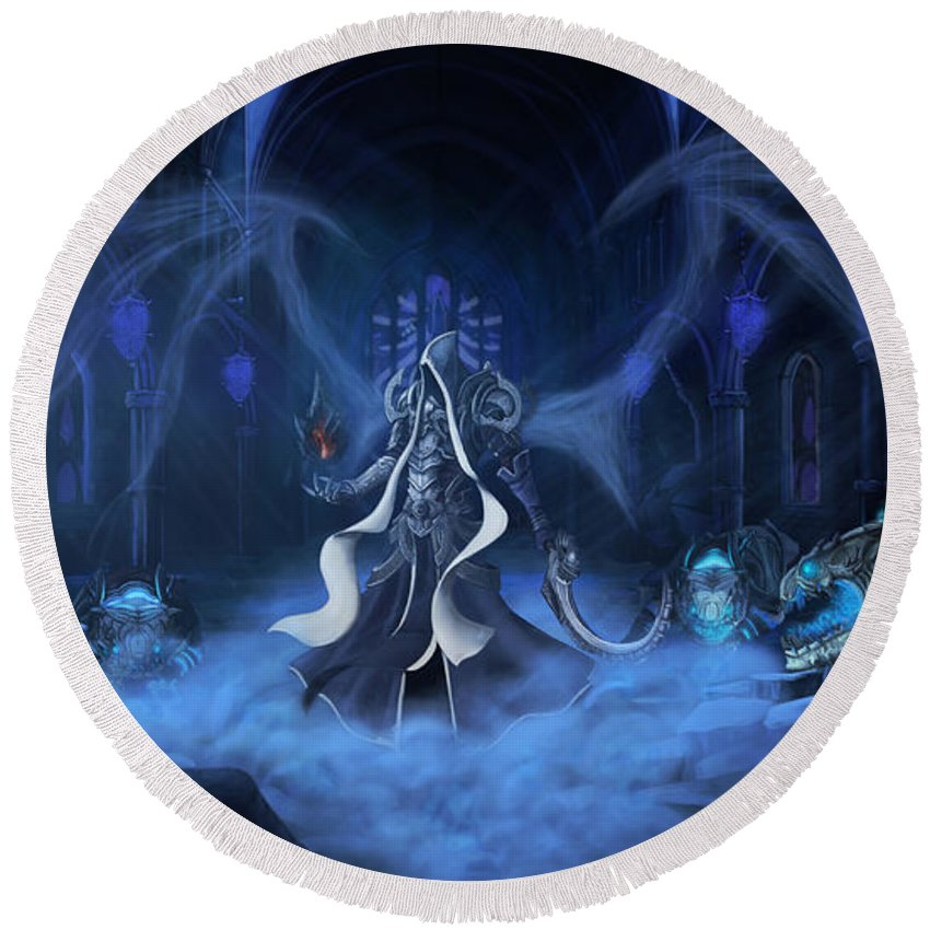 Diablo Iii Reaper Of Souls Round Beach Towel featuring the digital art Diablo IIi Reaper Of Souls by Zia Low