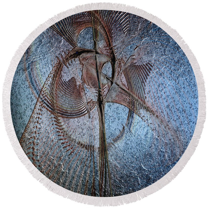 Abstract Round Beach Towel featuring the digital art Diachrony Of Altruism by Casey Kotas