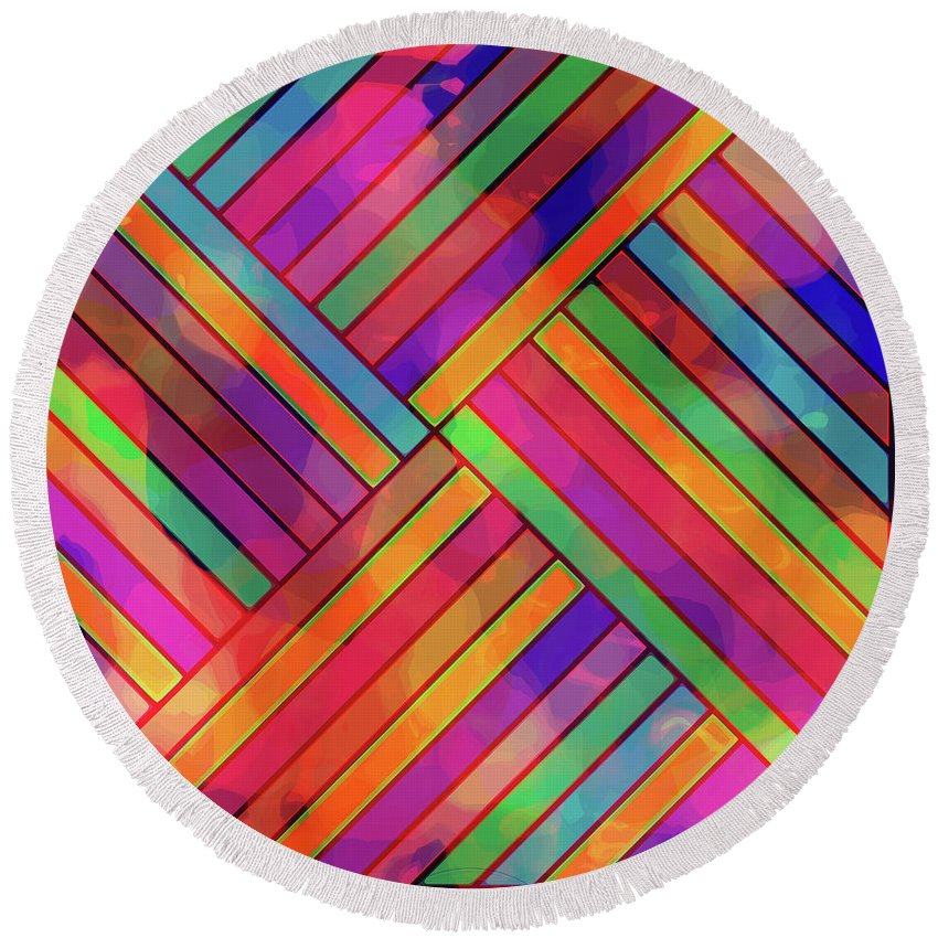 Diagonal Round Beach Towel featuring the digital art Diagonal Offset by Diane Parnell