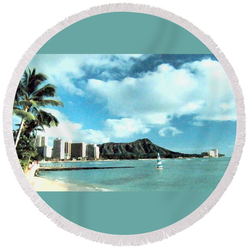 1986 Round Beach Towel featuring the digital art Diamond Head by Will Borden