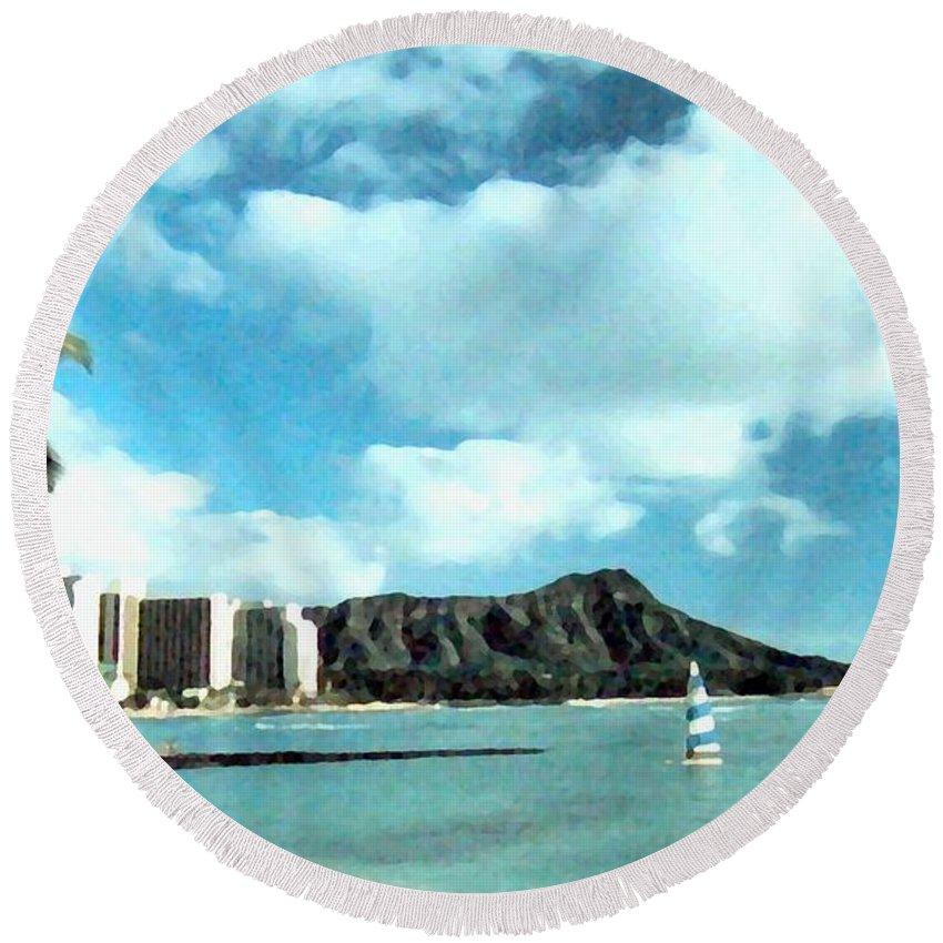 1986 Round Beach Towel featuring the digital art Diamond Head by Will Borden