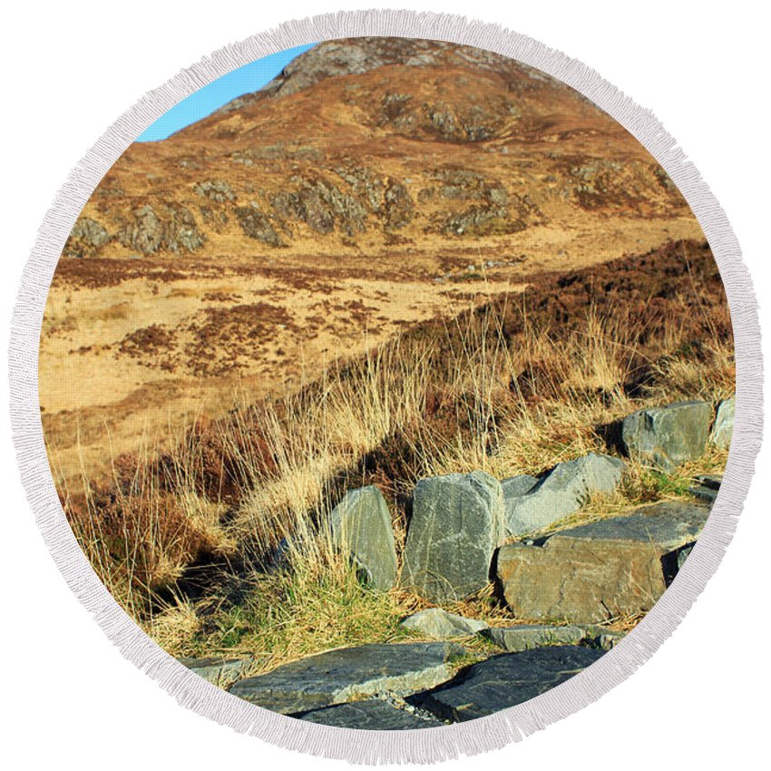Landscapes Round Beach Towel featuring the photograph Diamond Hill by Jennifer Robin