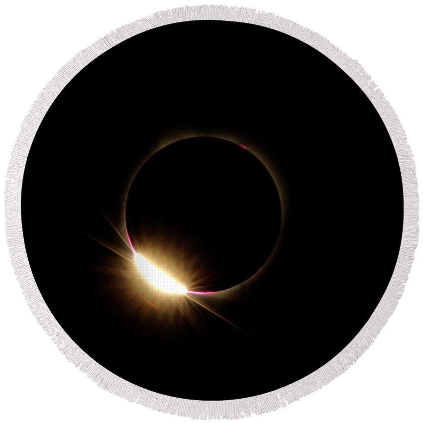 Solar Round Beach Towel featuring the photograph Diamond Ring 2-solar Eclipse by Larry Kjorvestad