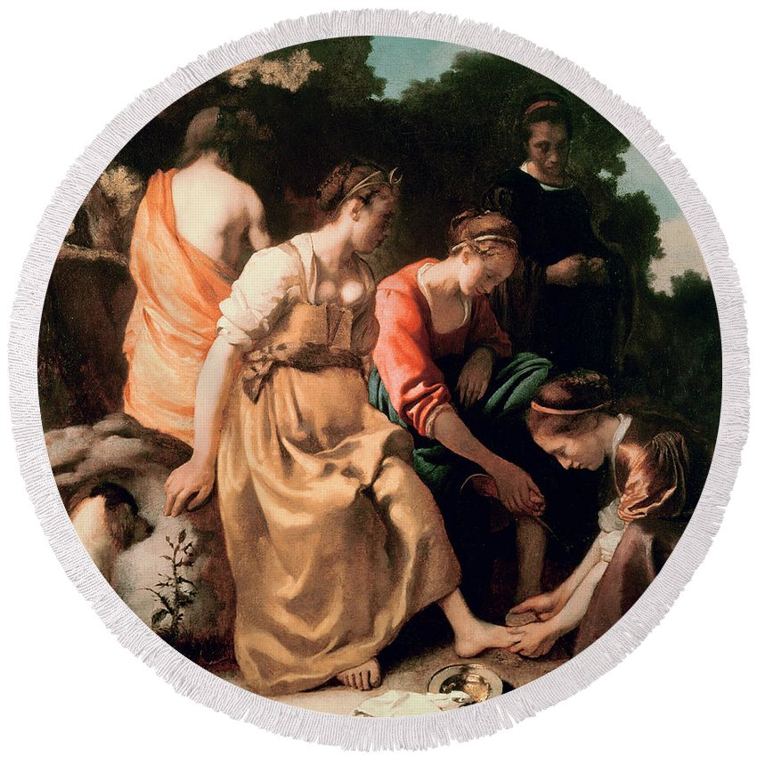 Diana And Her Companions Round Beach Towel featuring the painting Diana and her Companions by Jan Vermeer