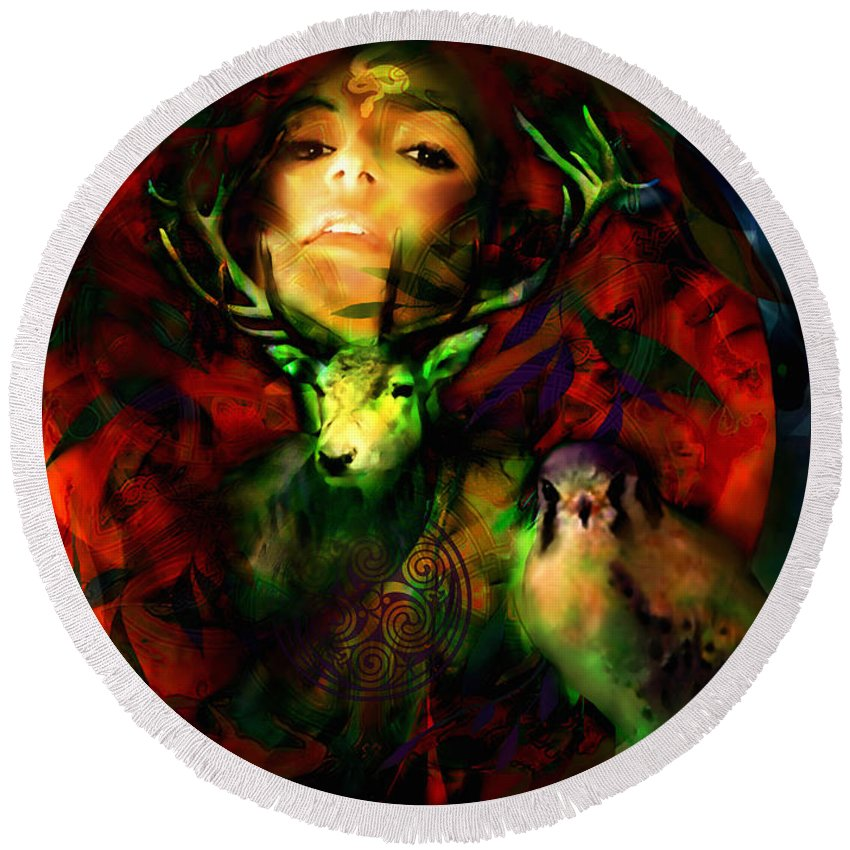 Spiritual Round Beach Towel featuring the digital art Dianas Blood Moon by Stephen Lucas