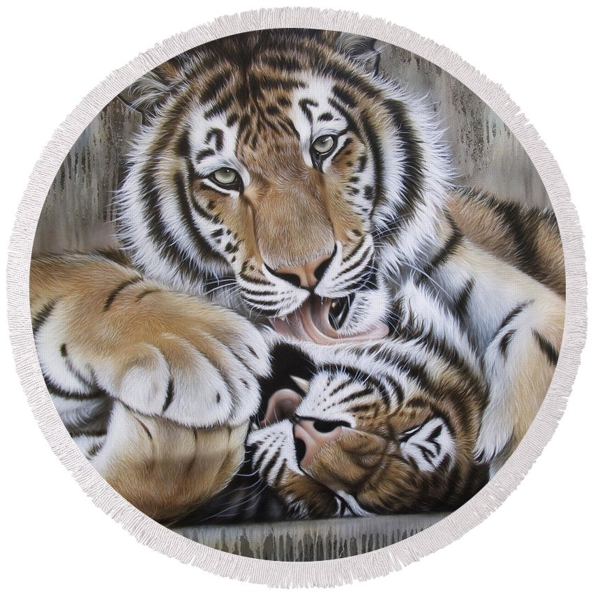 Acrylic Round Beach Towel featuring the painting Diana's Duo by Sandi Baker