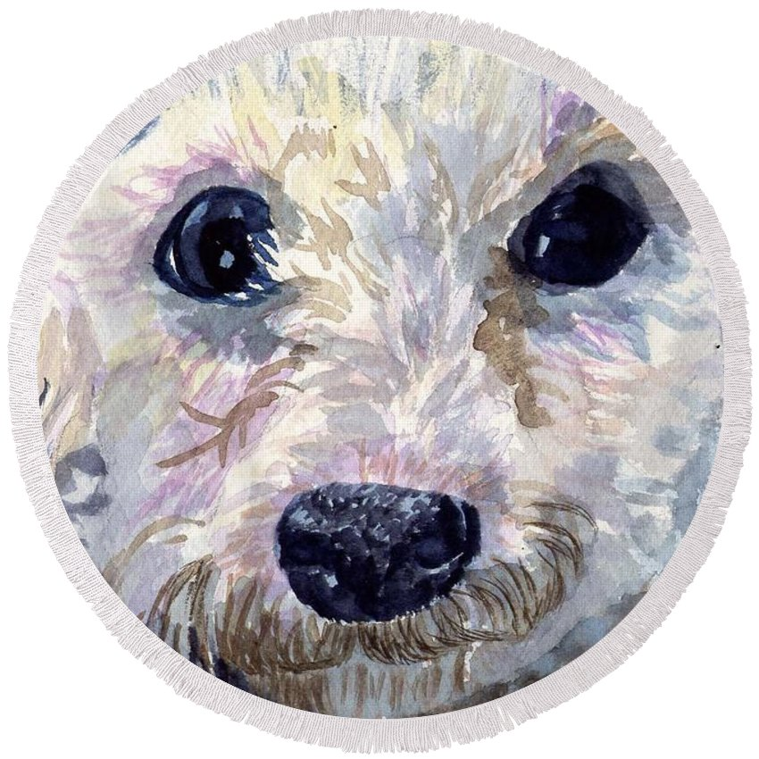 Bichon Frise Round Beach Towel featuring the painting Did You Say Lunch by Sharon E Allen