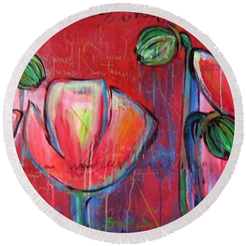 Red Round Beach Towel featuring the painting Did You Say Sanctuary by Laurie Maves ART