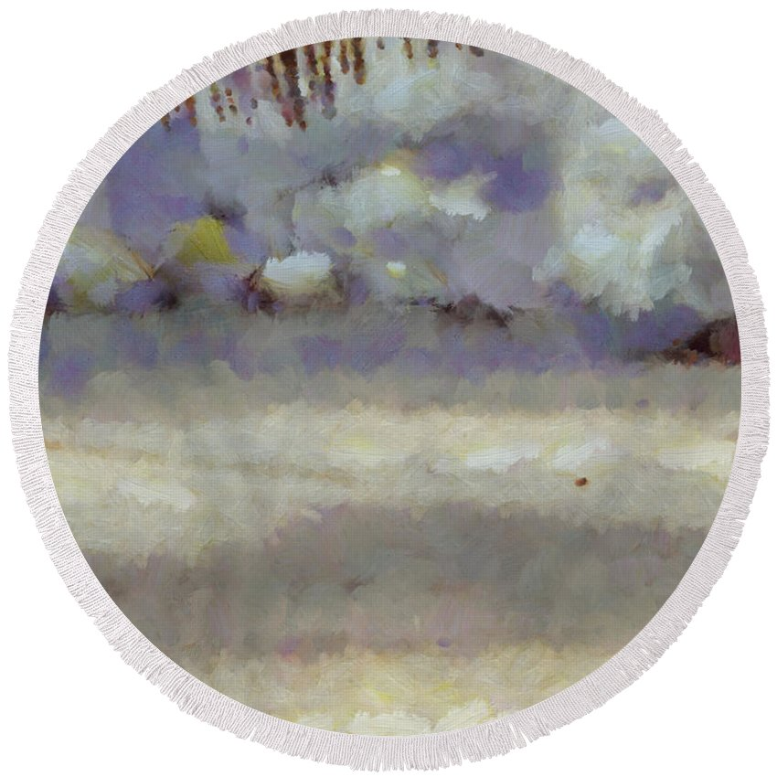Abstract Round Beach Towel featuring the photograph Different Types Of Clouds by Ashish Agarwal