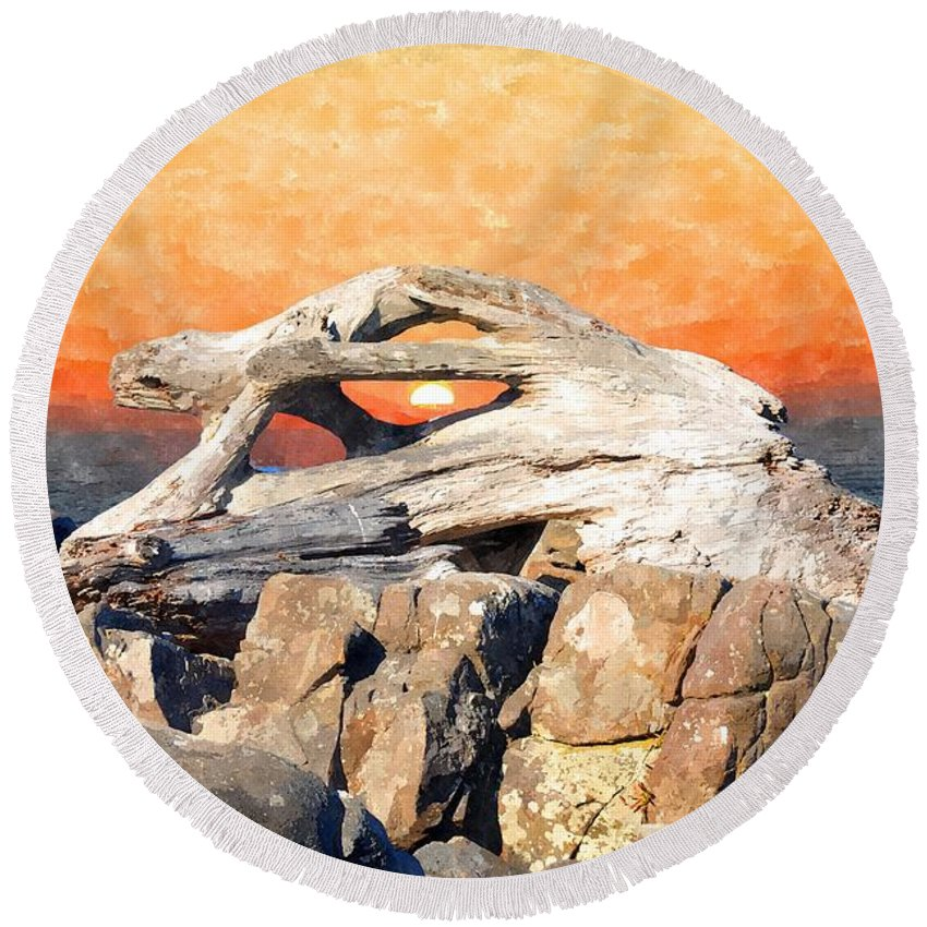 Yachats Round Beach Towel featuring the photograph Diftwood Sunset by Image Takers Photography LLC - Laura Morgan