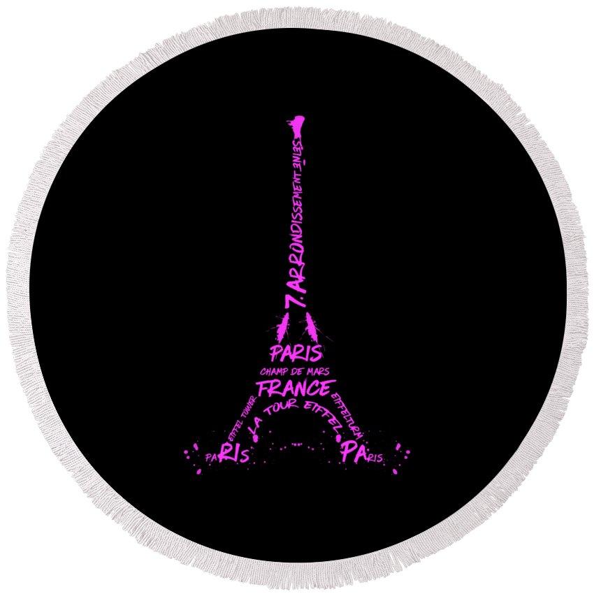 Paris Round Beach Towel featuring the digital art Digital-art Eiffel Tower Pink by Melanie Viola