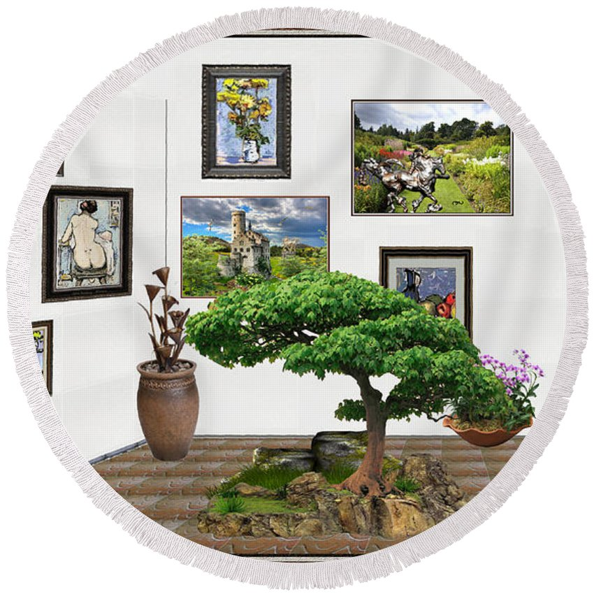 People Round Beach Towel featuring the mixed media Digital Exhibition _ Bonsai 22 by Pemaro