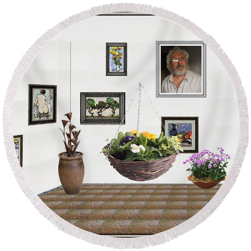 People Round Beach Towel featuring the mixed media digital exhibition _ Flower basket 22 by Pemaro