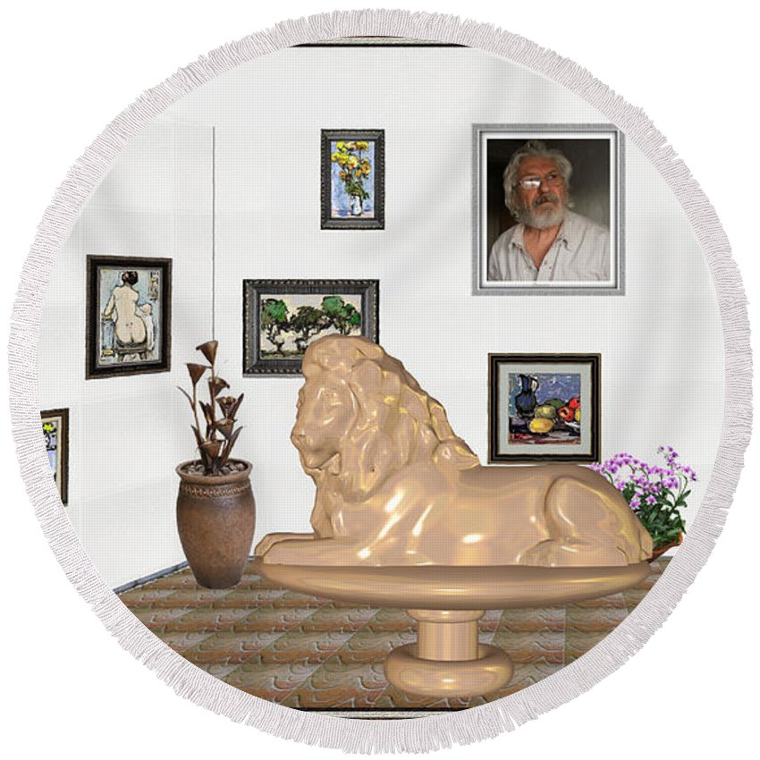 People Round Beach Towel featuring the mixed media Digital Exhibition _ Sculpture Of A Lion by Pemaro