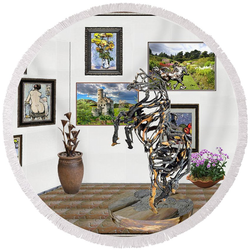 Modern Painting Round Beach Towel featuring the mixed media Digital Exhibition _ Statue Of Branches by Pemaro