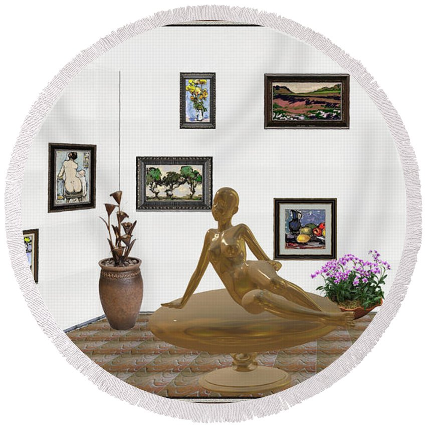 People Round Beach Towel featuring the mixed media digital exhibition _ Statue of girl 49 by Pemaro