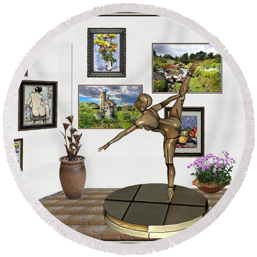 Modern Painting Round Beach Towel featuring the mixed media digital exhibition _ Statue of girl acrobat 35 by Pemaro