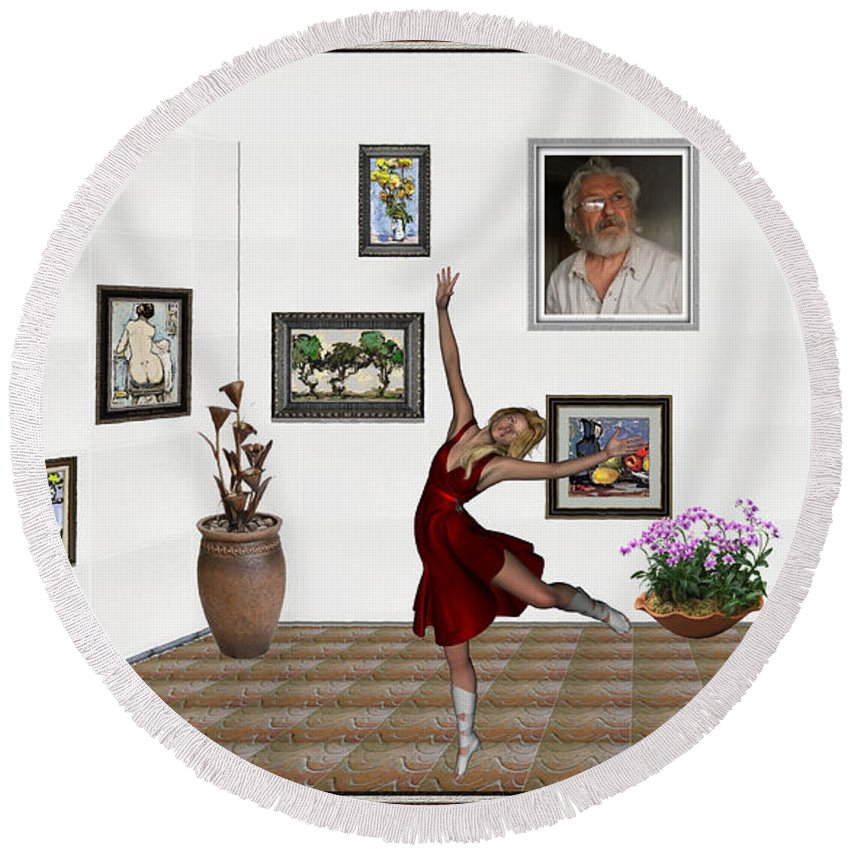 Modern Painting Round Beach Towel featuring the mixed media Digital Exhibition _dancing Girl 221 by Pemaro