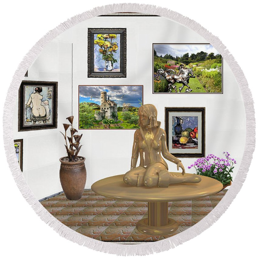 Modern Painting Round Beach Towel featuring the mixed media digital exhibition _Statue 2 of posing girl 221 by Pemaro