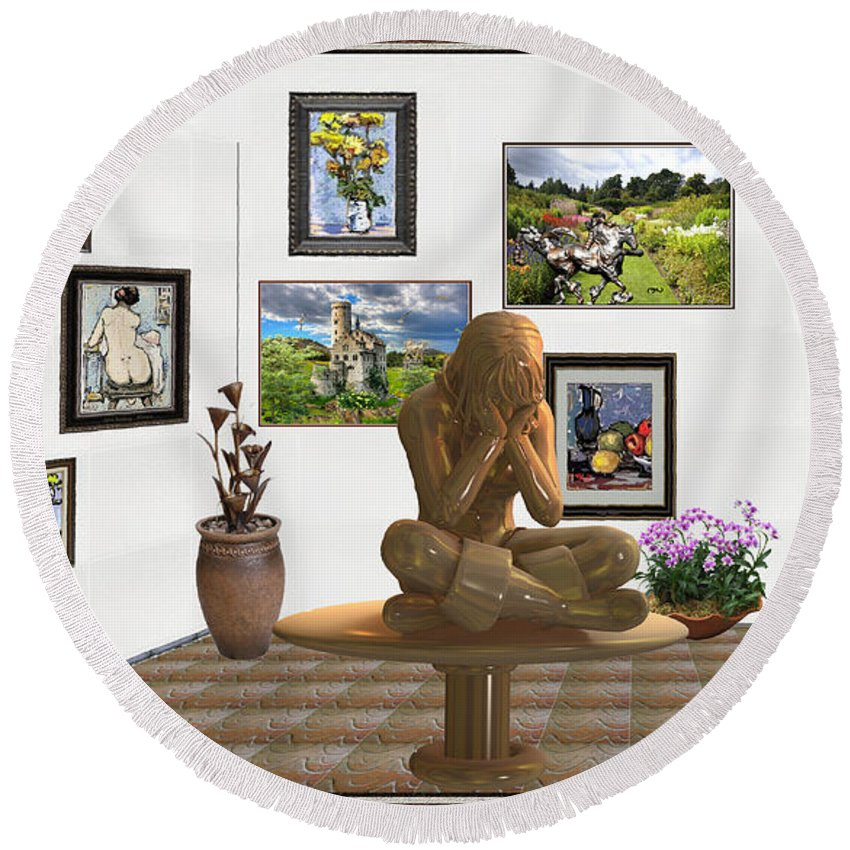 Modern Painting Round Beach Towel featuring the mixed media digital exhibition _Statue 5 of posing girl 221 by Pemaro