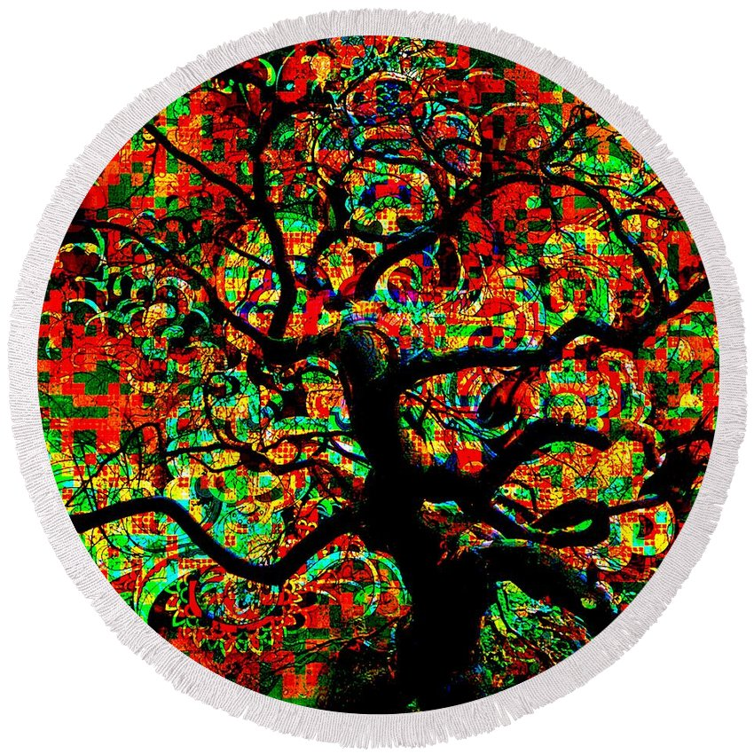 Digital Round Beach Towel featuring the digital art Digital Tree Impressionism Pixela by Mary Clanahan