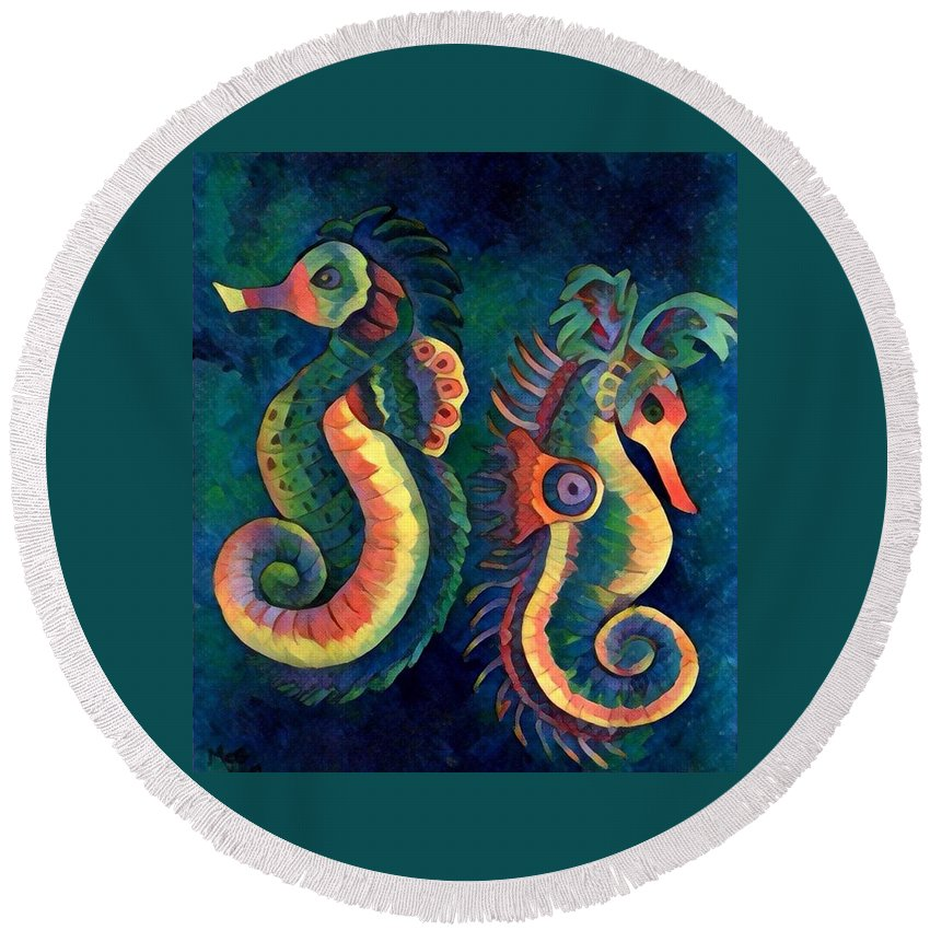 Sea Horses Round Beach Towel featuring the painting Digital Water Horse 2 by Megan Walsh