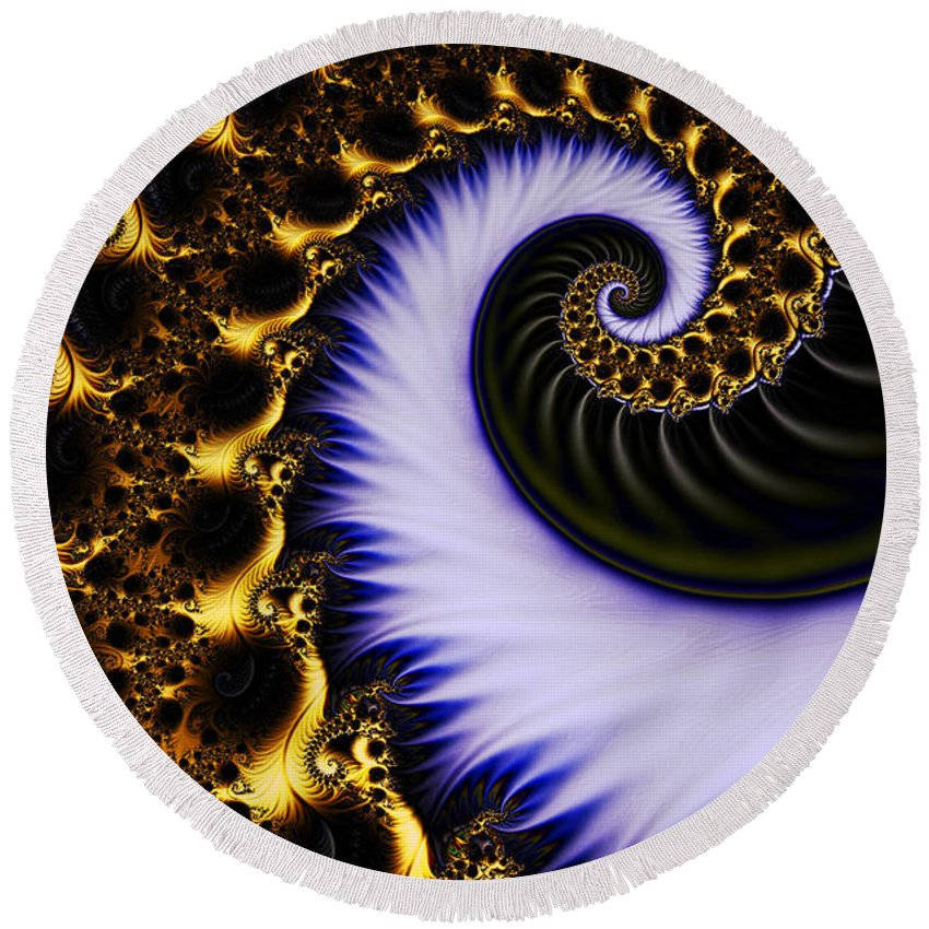 Clay Round Beach Towel featuring the digital art Digital Wave by Clayton Bruster