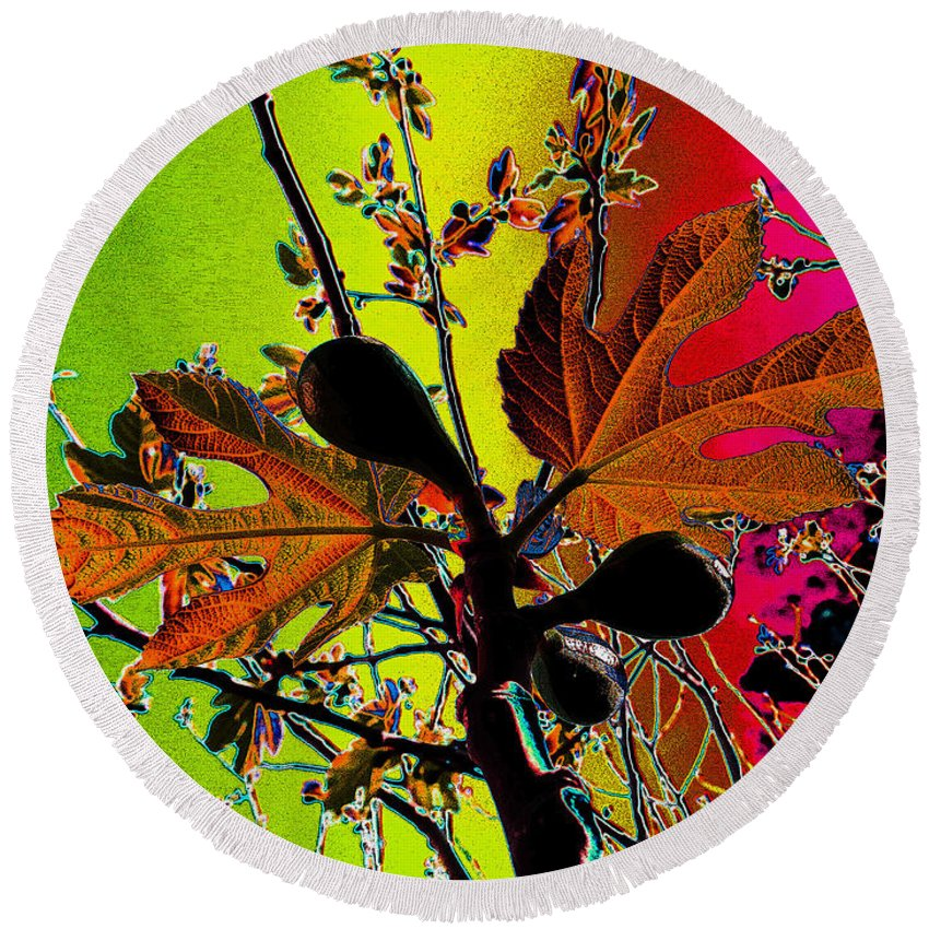 Leaves Round Beach Towel featuring the digital art Figtree Leaves 4 by Don Pedro DE GRACIA