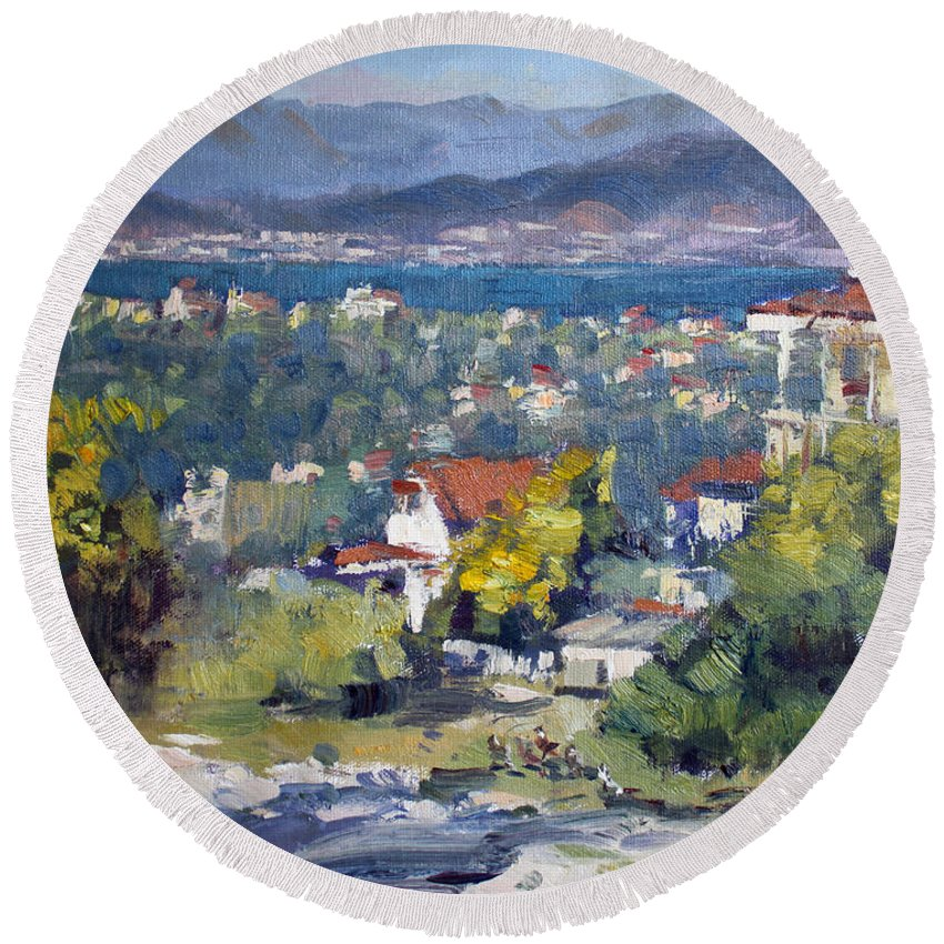 Dilesi Round Beach Towel featuring the painting Dilesi Village Athens by Ylli Haruni