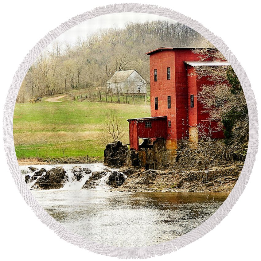 Mill Round Beach Towel featuring the photograph Dillard Mill 4 by Marty Koch