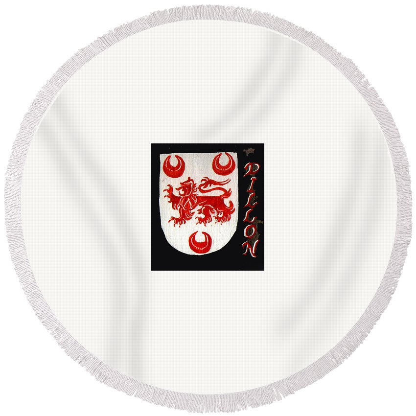 Coat Of Arms Round Beach Towel featuring the painting Dillon Family Shield by Barbara McDevitt