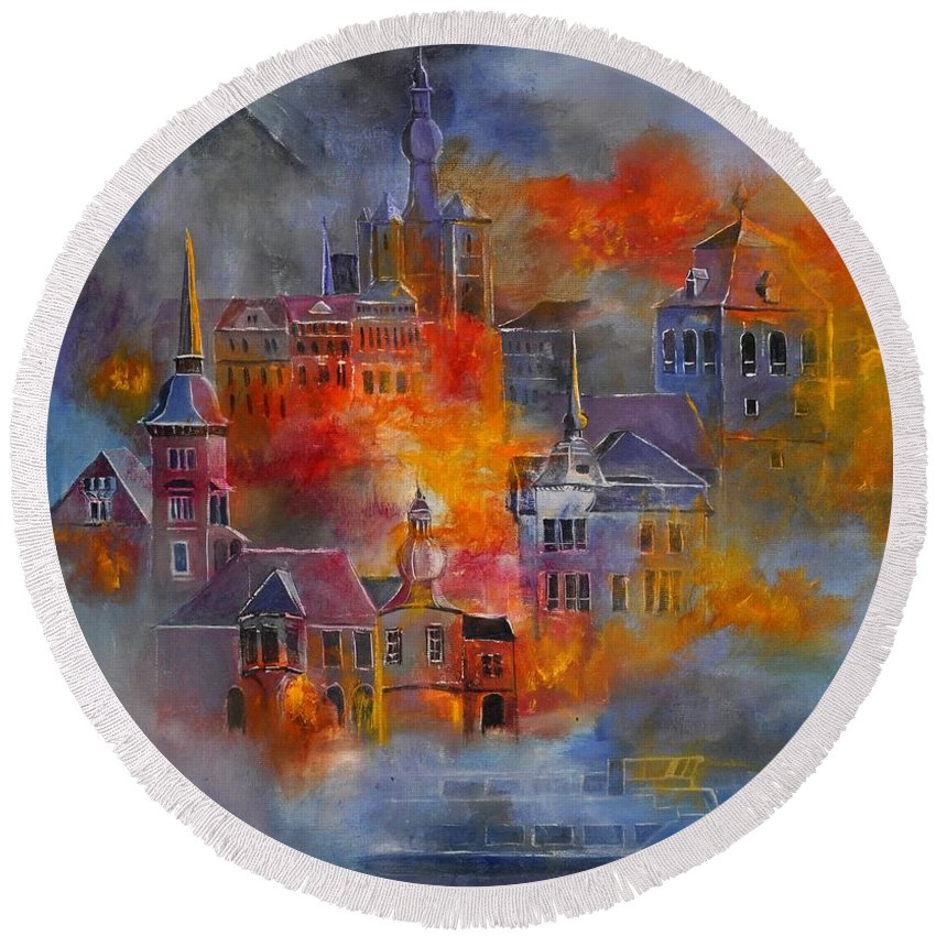 Urban Landscape Round Beach Towel featuring the painting Dinant 670150 by Pol Ledent