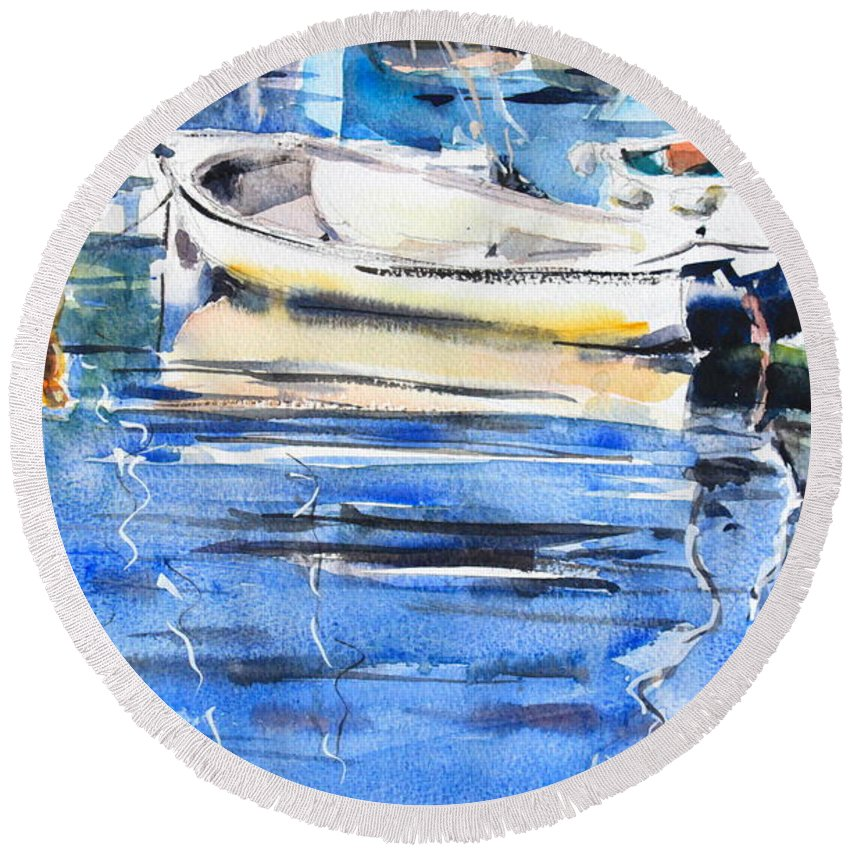 Dinghies Round Beach Towel featuring the painting Dinghies At High Tide by Ibolya Taligas