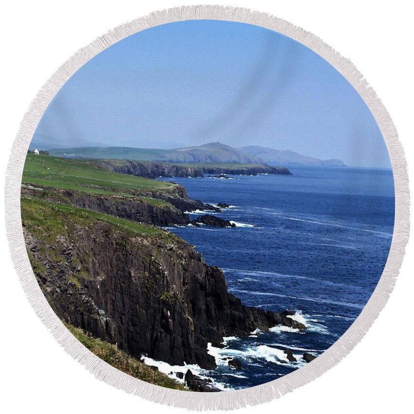 Irish Round Beach Towel featuring the photograph Dingle Coast Near Fahan Ireland by Teresa Mucha