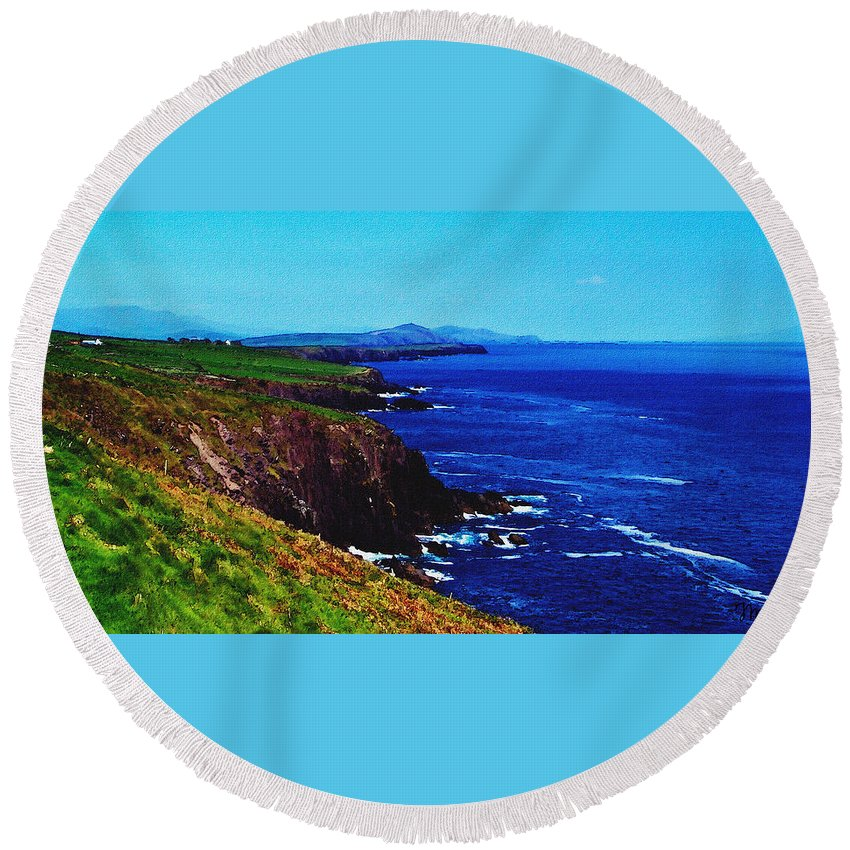 Irish Round Beach Towel featuring the digital art Dingle Coastline Near Fahan Ireland by Teresa Mucha
