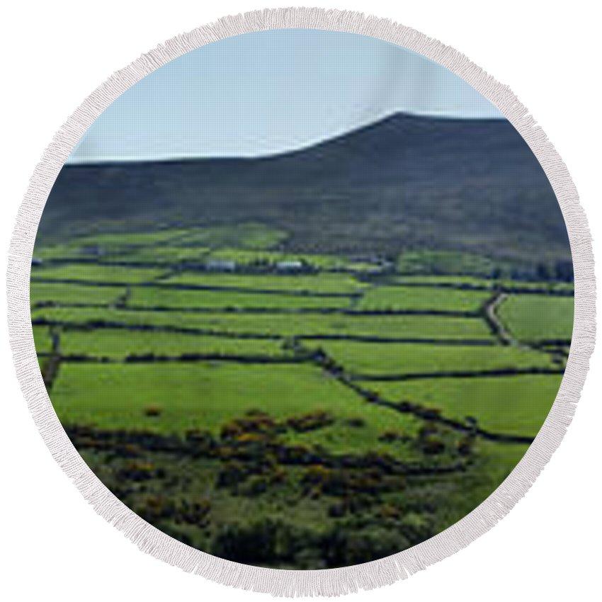 Irish Round Beach Towel featuring the photograph Dingle Peninsula Panorama Ireland by Teresa Mucha