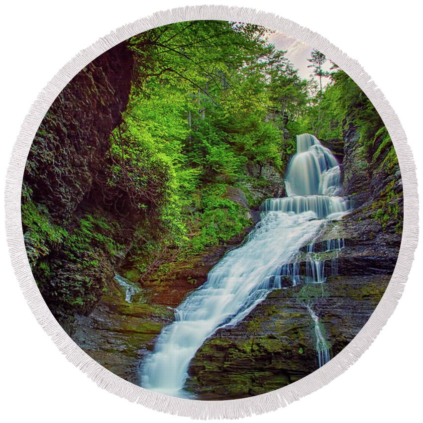 Dingman's Falls Round Beach Towel featuring the photograph Dingmans Falls by Rick Berk