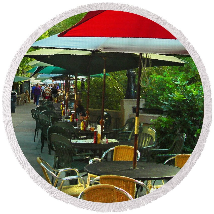 Cafe Round Beach Towel featuring the photograph Dining Under The Umbrellas by James Eddy